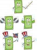image of two dollar bill  - Dollar Bill Cartoon Mascot Characters 2 - JPG