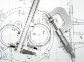 stock photo of micrometer  - Caliper and Micrometer on technical drawings - JPG