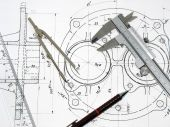 Caliper, Compass, Ruler And Pencil On Technical Drawings