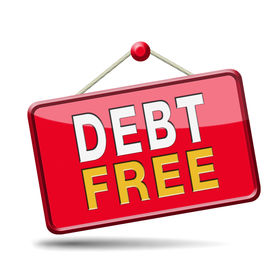 picture of debt free  - debt free zone or tax reduction today relief of taxes having good credit financial success paying debts for financial freedom - JPG