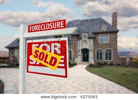 Sold Foreclosure Home For Sale Sign And House