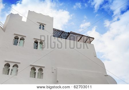 White Walls And Blue Sky. Madina, Old Part Of Tangier, Morocco