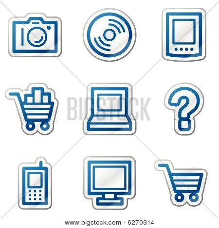 Electronics web icons, blue contour series