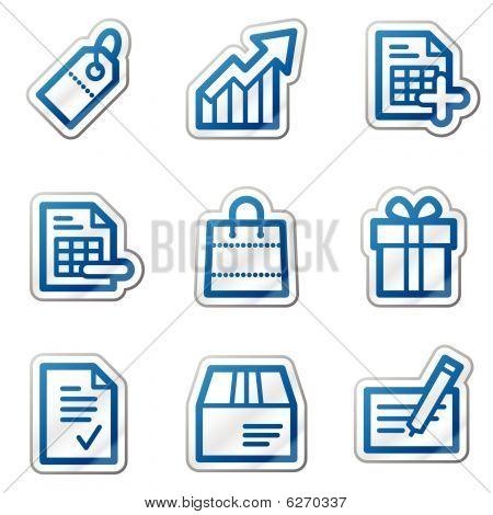 Shopping web icons, blue contour series
