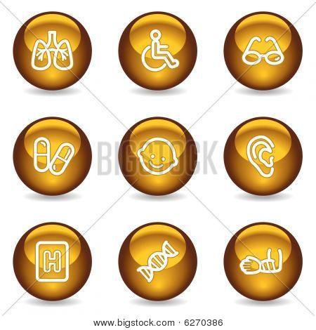 Medicine web icons set 2, gold glossy series