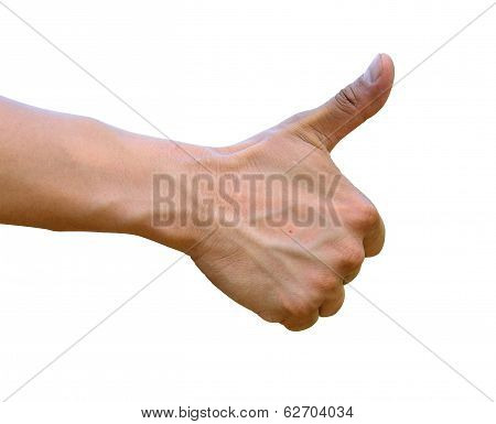 Thumb Up, Hand With Thumb Up Isolated On White Background