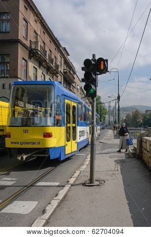 SARAJEVO, BOSNIA AND HERZEGOVINA - SEPTEMBER 18, 2008: Cable car in Sarajevo. It is important part of the public transportation system and adds value to the authenticity of this historical city.