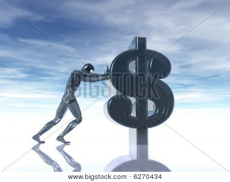 Glass Man Pushes Dollar Symbol