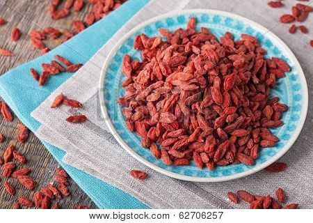 Goji berries in a plate