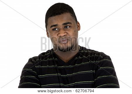 Handsome African American Man Portrait Looking Sideways