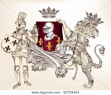 Heraldic Design With Knight And Lion For Design