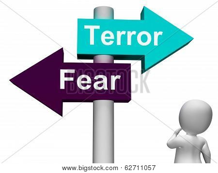 Terror Fear Signpost Shows Anxious Panic And Fears