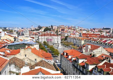 LISBON, PORTUGAL - MARCH 17: Aerial view of Rossio Square, with the National Theatre Dona Maria II in the front on March 17, 2014 in Lisbon, Portugal. The square is in the heart of Lisbon