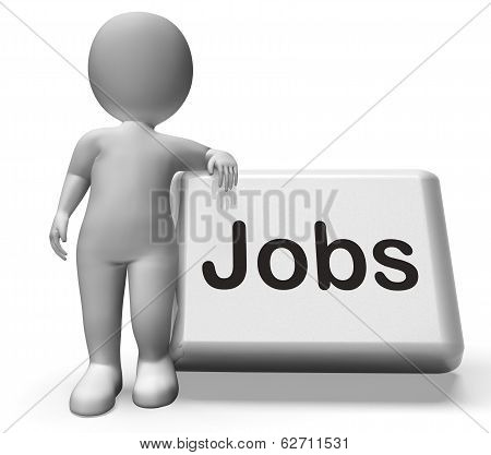 Jobs Button With Character  Shows Hiring Recruitment Online Hire Job