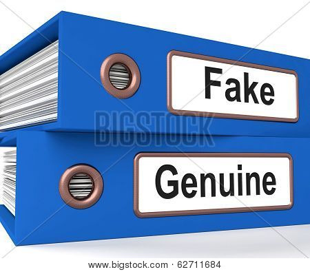 Fake Genuine Folders Show Real Or Imitation Products