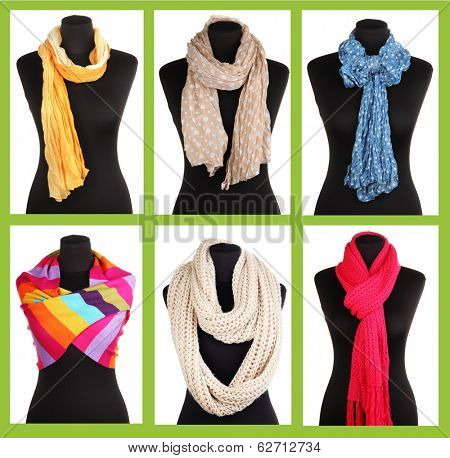 Collage of 6 ways to tie scarves