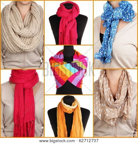 Collage of 7 ways to tie scarves