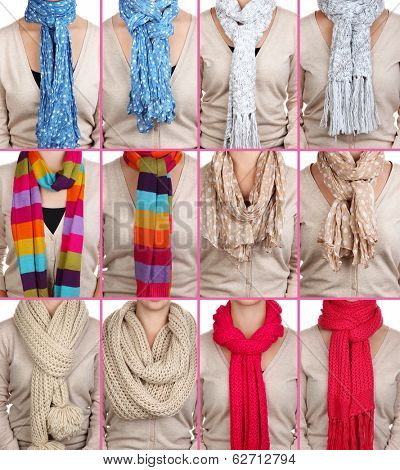 Collage of 12 ways to tie scarves