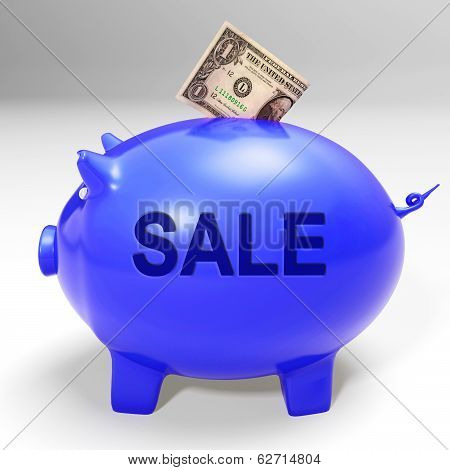 Sale Piggy Bank Shows Price Cut And Discounted Products