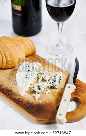 Blue Cheese, Croissant And Wine