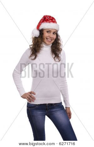 Santa Girl In Red Christmas Cap
