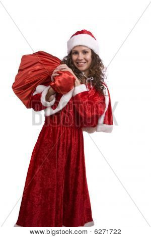 Santa Woman Is Holding Red Sack With Gifts.