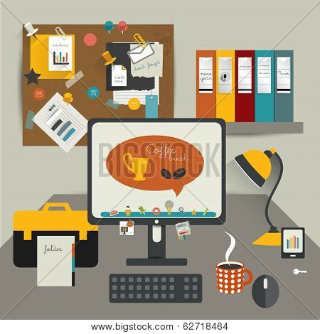 Work office table. Flat design vector illustration. Table with computer, folders, noticeboard, coffe