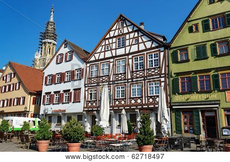 ESSLINGEN, GERMANY - APRIL 02,2014: Medieval buildings located at Market Square (Marktplatz) in Esslingen am Neckar near Stuttgart