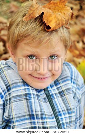 Boy With Leaf On Head