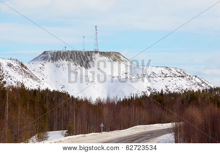 Cell Tower On The Mountain Of Artificial Origin