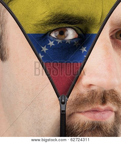 Unzipping Face To Flag Of Venezuela