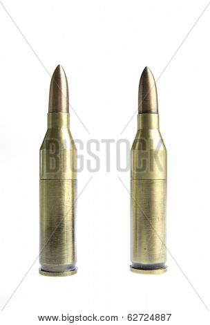 Rifle bullets isolated on white