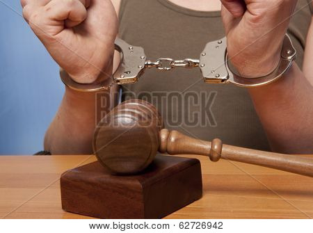 The arrest of the offender in the courtroom