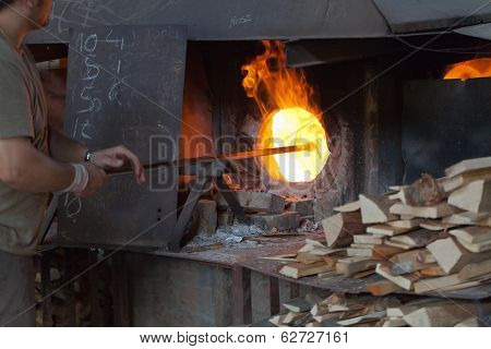 The Glass blowing process in Murano