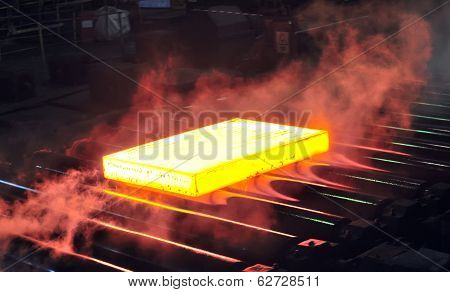 Hot Steel Sheet On Conveyor