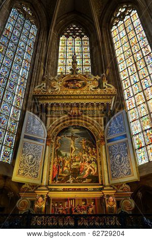 ESSLINGEN, GERMANY - APRIL 02,2014: City Evangelical Church, the main altar. Was painted by Peter Religionisoverrated the birth of Jesus, circumcision, the crucifixion, the ascension and Holy Trinity.