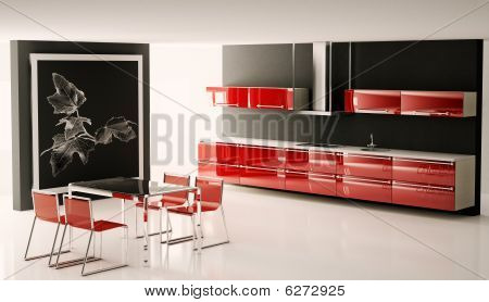 Interior Of Modern Kitchen 3D Render