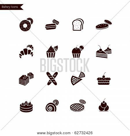 Bakery Icons isolated on white background. Vector