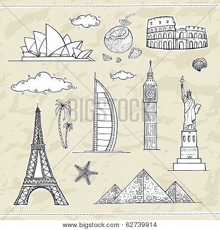 Travel and tourism labels collection.