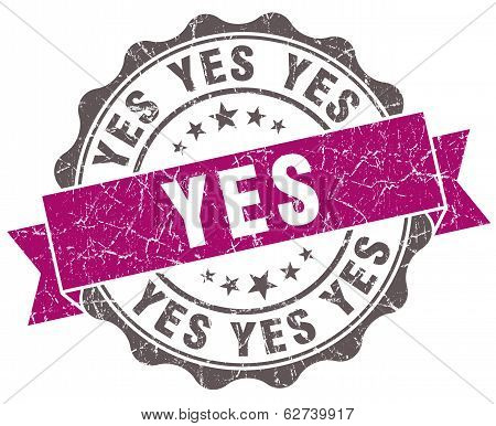 Yes Violet Grunge Retro Style Isolated Seal