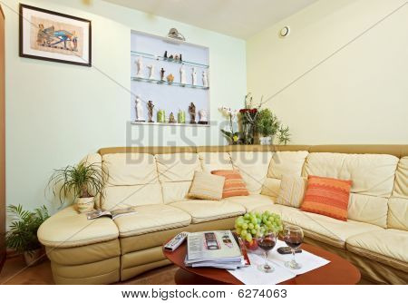 Part Of Drawing-room Interior With Beige Corner Leather Sofa