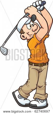Cartoon golfer. Vector clip art illustration with simple gradients. All in a single layer.
