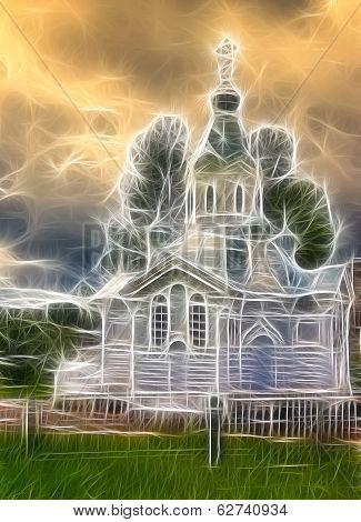 Small Ortodox Church In Borovichi, Russia. Fractal Design