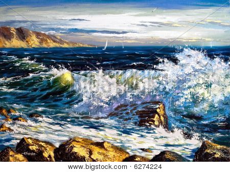 Storm Waves On Seacoast