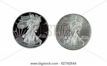 Proof And Uncirculated American Silver Eagle Dollar Coins Isolated On White