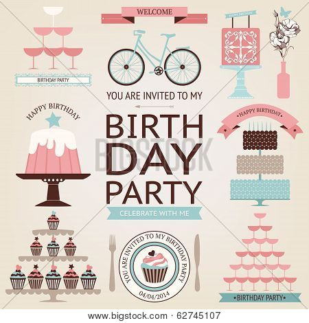 Vector Set Of Celebration Or Holiday Icons In Vintage Colors.