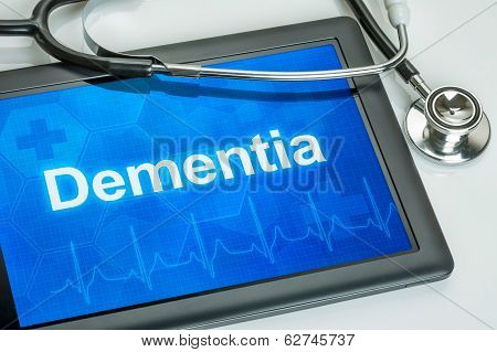 Tablet with the diagnosis dementia on the display