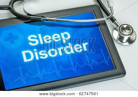 Tablet with the diagnosis sleep disorder on the display