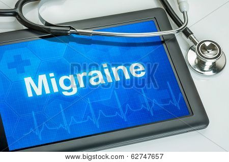 Tablet with the diagnosis migraine on the display
