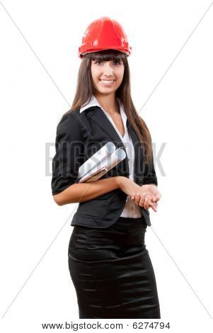 Smiling Businesswoman Wearing Red Helmet